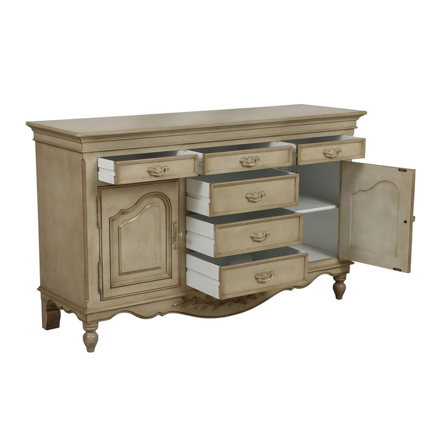 buffet bas 2 portes 6 tiroirs beige interior 39 s. Black Bedroom Furniture Sets. Home Design Ideas
