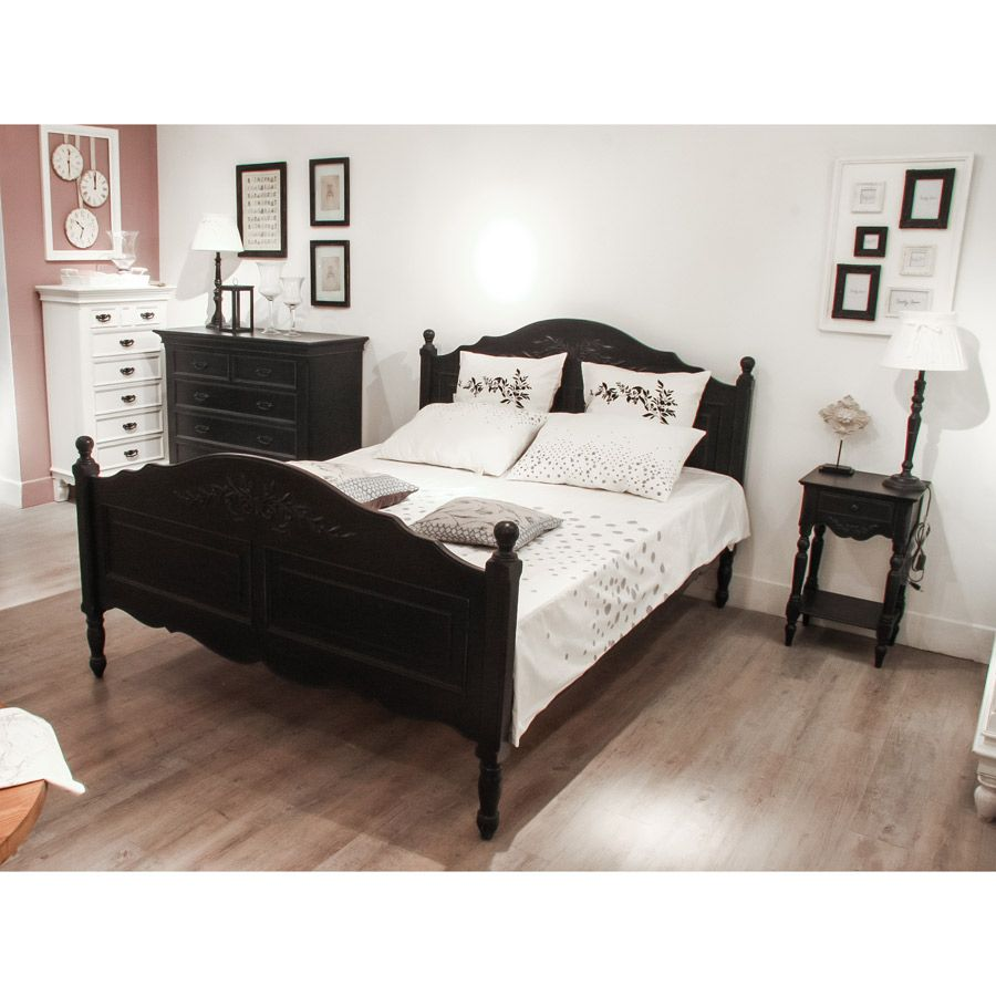 lit 140x190 cm avec sommier lattes noir interior 39 s. Black Bedroom Furniture Sets. Home Design Ideas