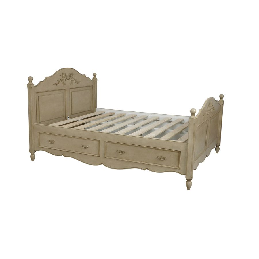lit tiroirs 160x200 cm avec sommier lattes beige. Black Bedroom Furniture Sets. Home Design Ideas