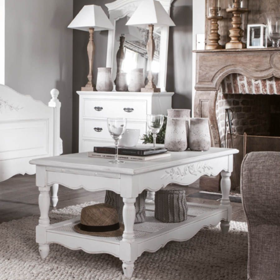 table basse rectangulaire 2 tirettes blanc interior 39 s. Black Bedroom Furniture Sets. Home Design Ideas