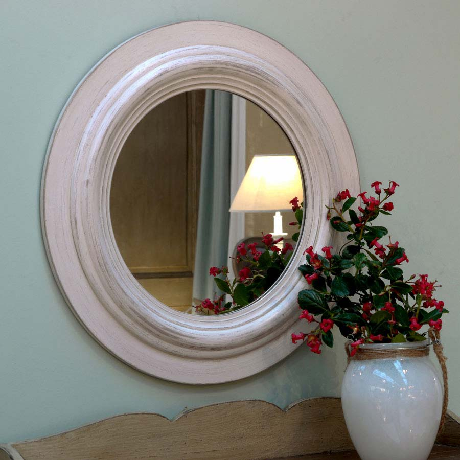 Miroir rond blanc vieilli blanc interior 39 s for Miroir bombe rond
