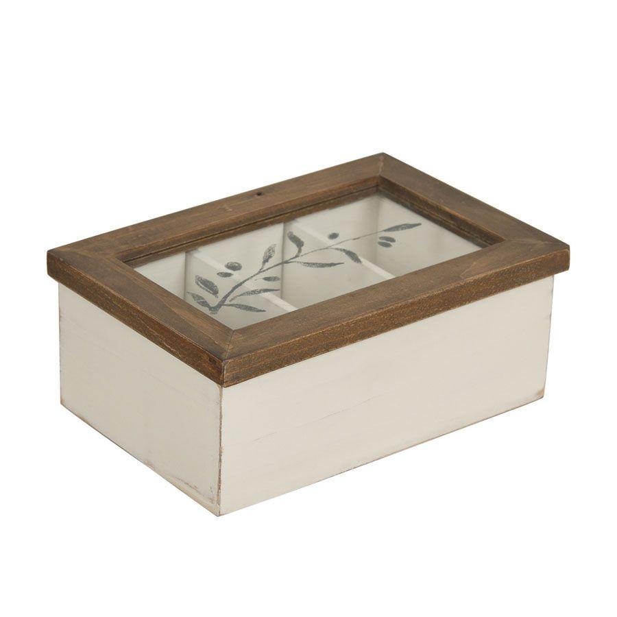 bo te tisanes en bois et verre blanc interior 39 s. Black Bedroom Furniture Sets. Home Design Ideas