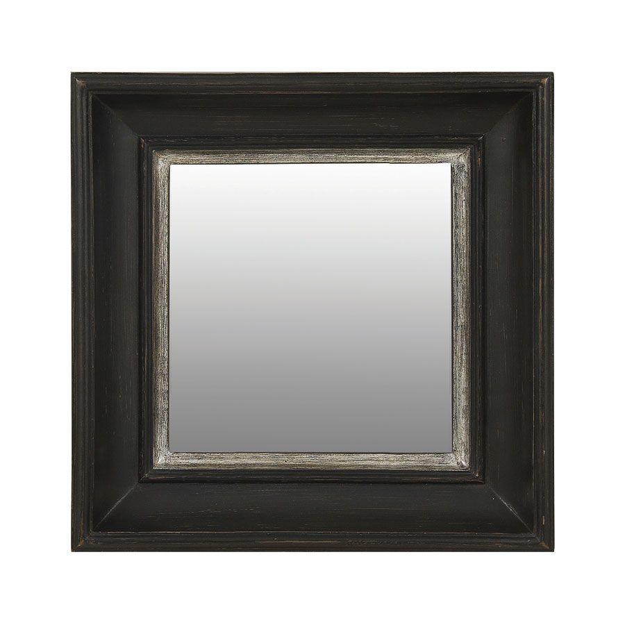 Miroir carr noir noir interior 39 s for Miroir contour argent