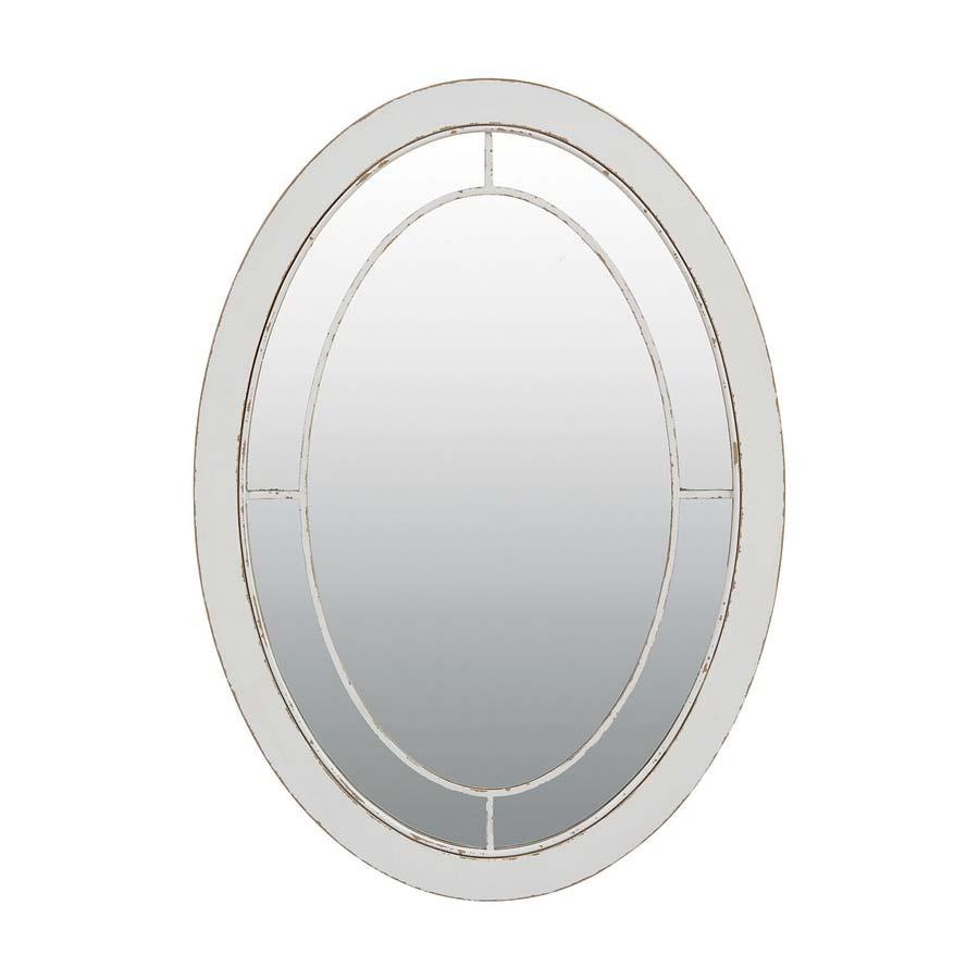Miroir ovale blanc