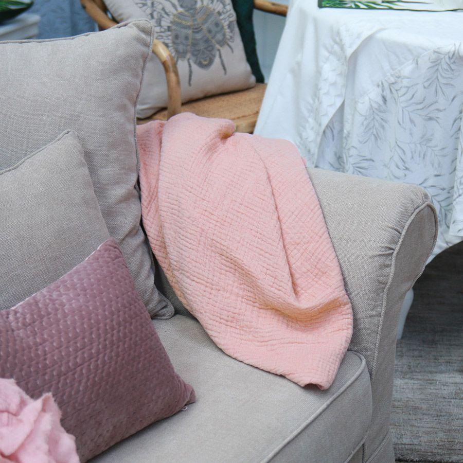 plaid en coton 130x180 rose interior 39 s. Black Bedroom Furniture Sets. Home Design Ideas