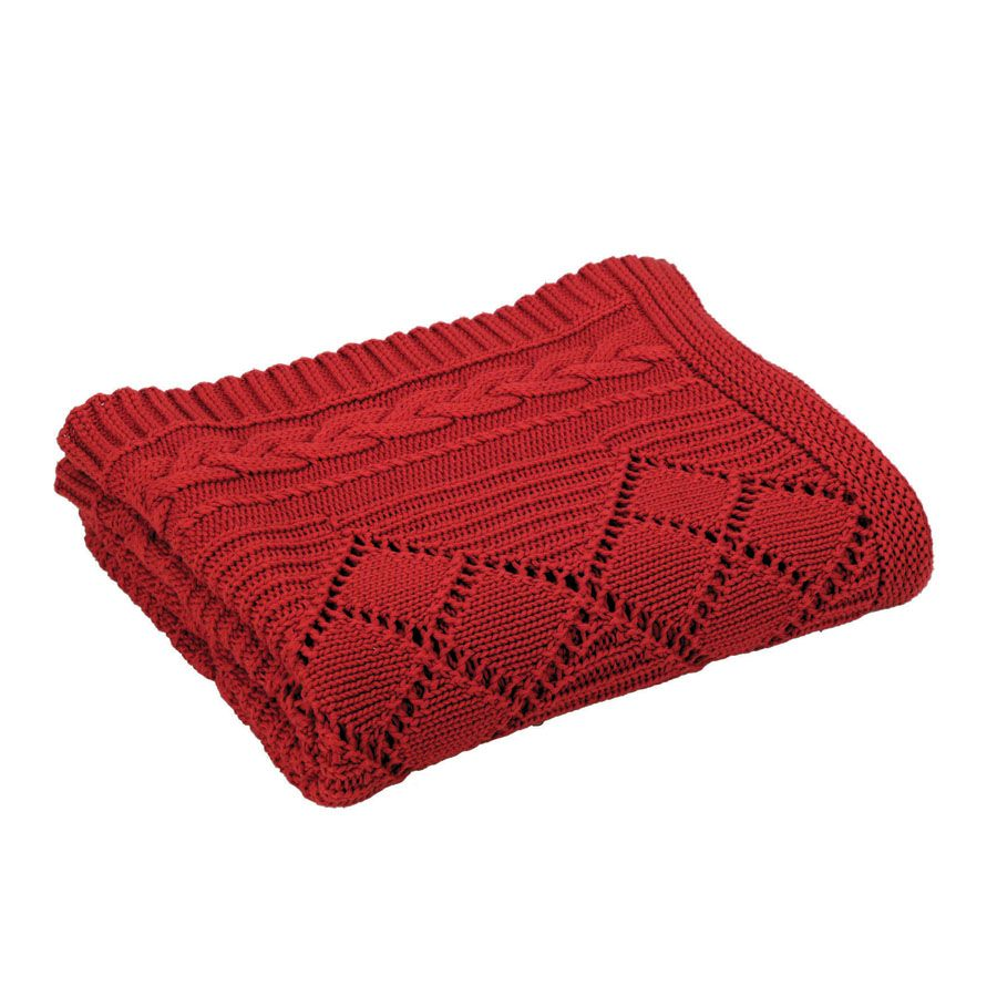 Plaid en coton 140x170 rouge interior 39 s for Plaid contemporain