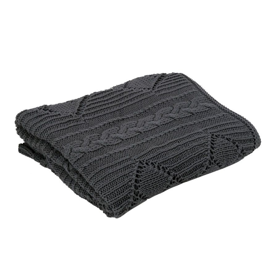 plaid en coton 140x170 gris interior 39 s. Black Bedroom Furniture Sets. Home Design Ideas