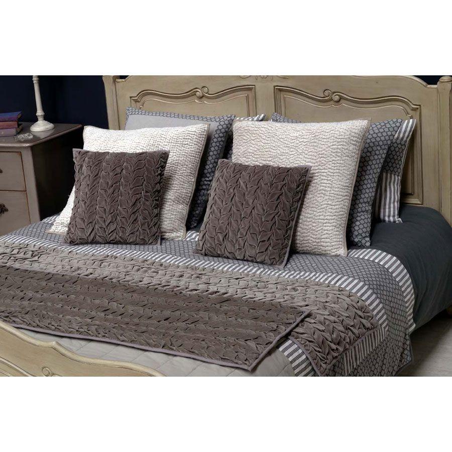 chemin de lit en coton 170x50 gris interior 39 s. Black Bedroom Furniture Sets. Home Design Ideas