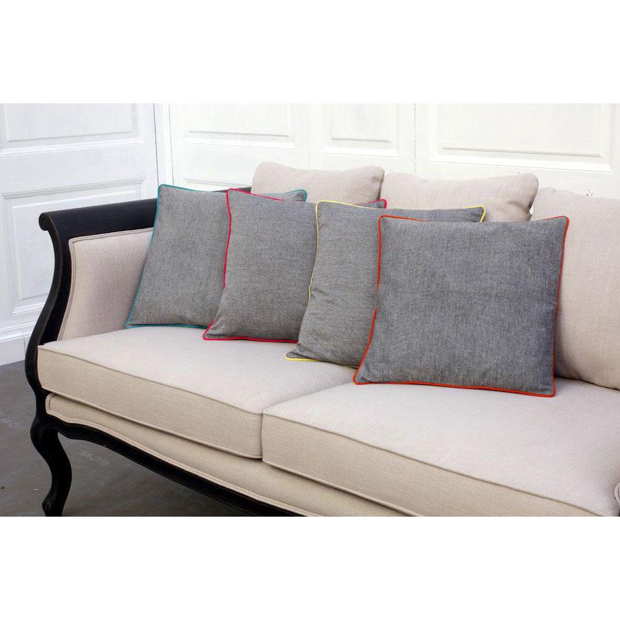 housses de coussins en coton 40x40 lot de 2 gris. Black Bedroom Furniture Sets. Home Design Ideas