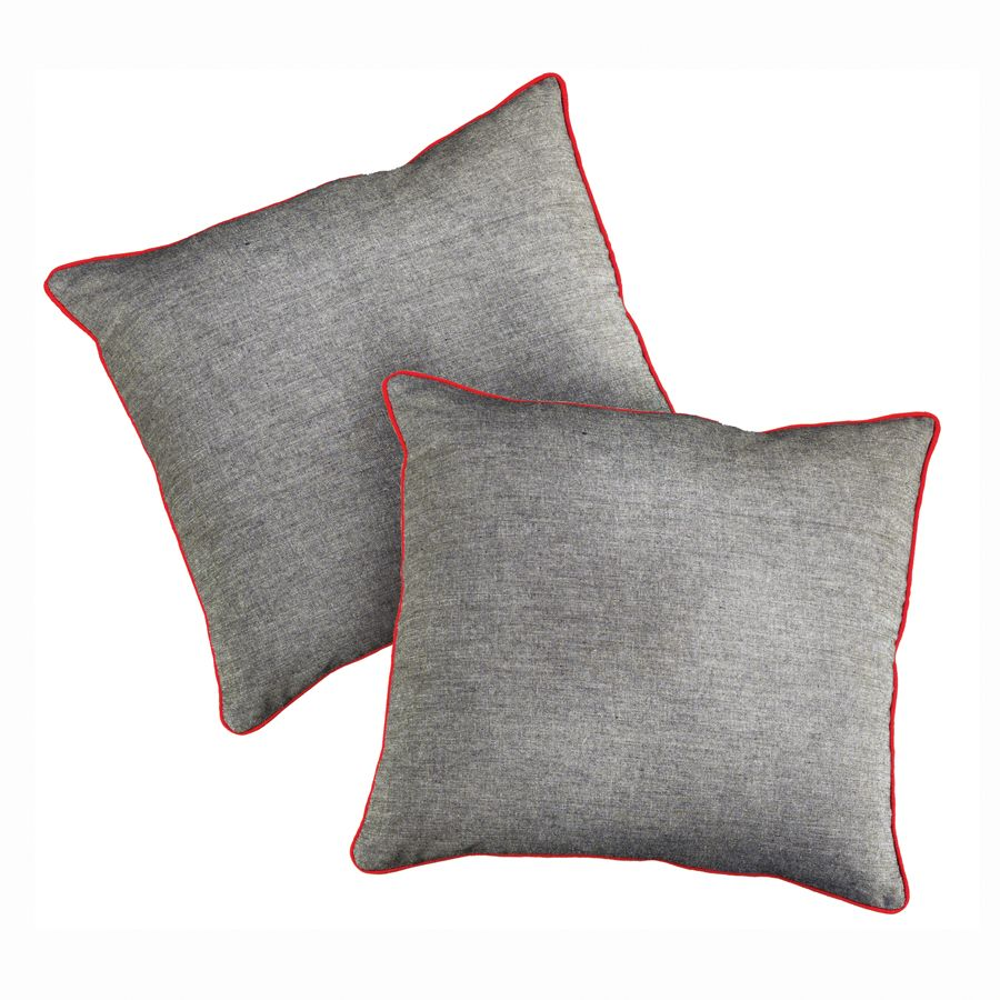 Housses de coussins en coton 40x40 lot de 2 gris for Housse de coussin 40x40