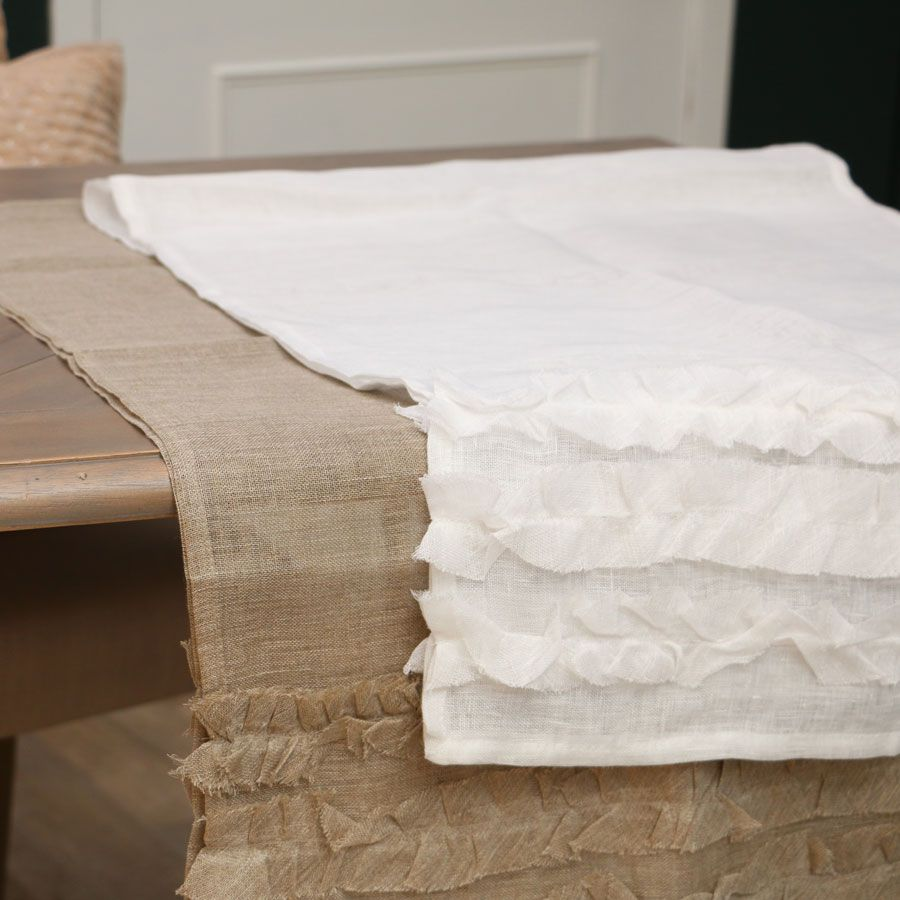 chemin de table en gaze de lin 180x50 naturel interior 39 s. Black Bedroom Furniture Sets. Home Design Ideas