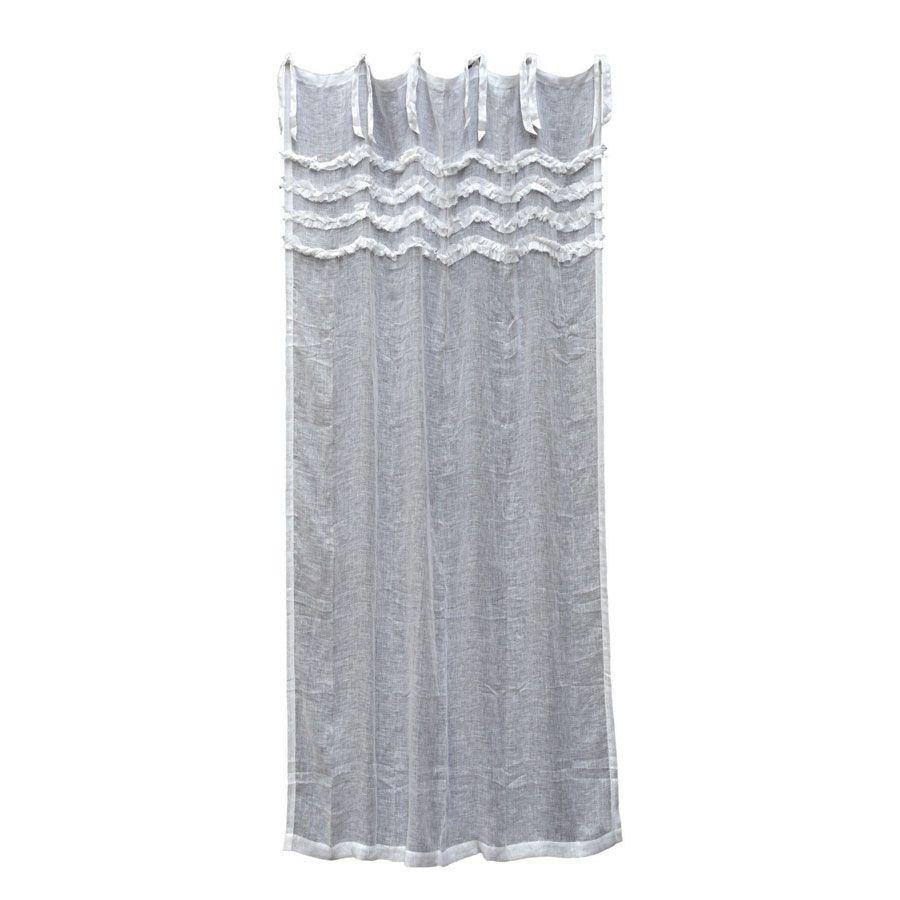 rideau en gaze de lin 140x270 blanc interior 39 s. Black Bedroom Furniture Sets. Home Design Ideas