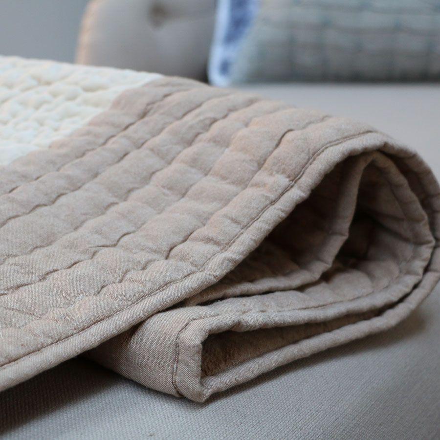 plaid en velours et coton 130x180 beige interior 39 s. Black Bedroom Furniture Sets. Home Design Ideas