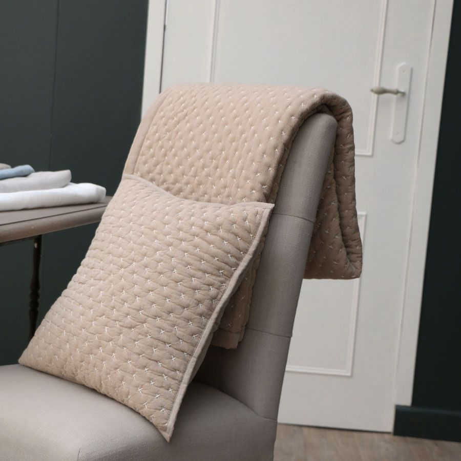 plaid en coton 130x180 beige interior 39 s. Black Bedroom Furniture Sets. Home Design Ideas