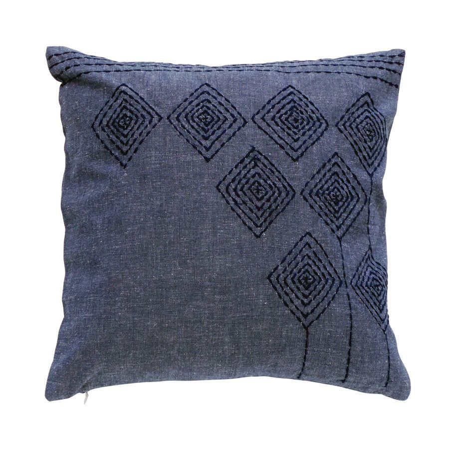 housse de coussin en coton et lin 40x40 bleu interior 39 s. Black Bedroom Furniture Sets. Home Design Ideas