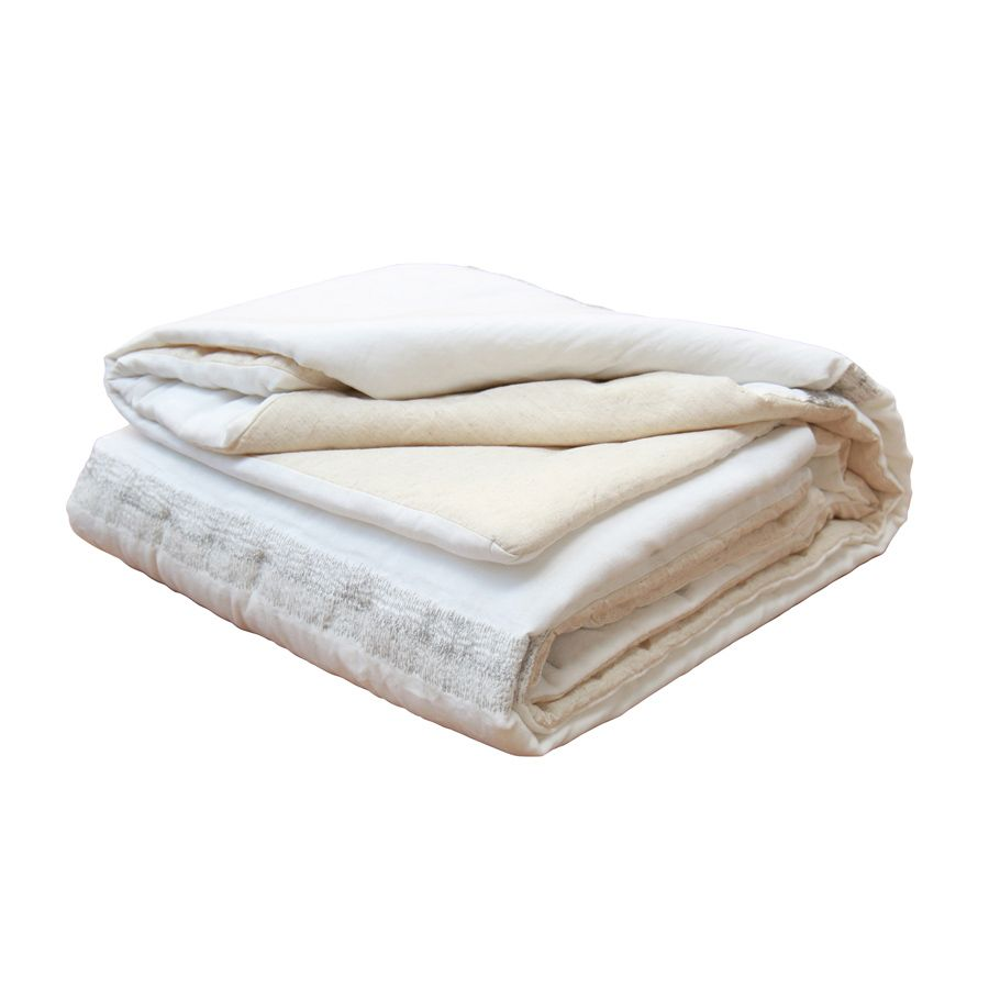 boutis en coton et lin 130x180 blanc interior 39 s. Black Bedroom Furniture Sets. Home Design Ideas