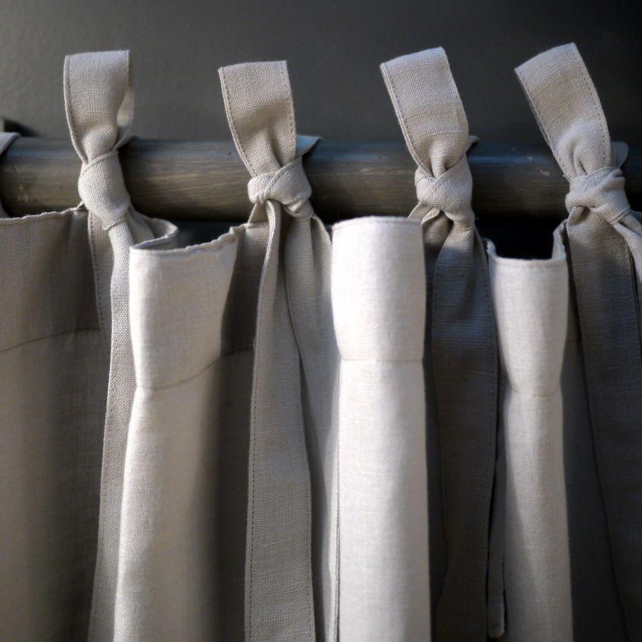 Rideaux en coton et lin 140x270 lot de 2 beige - Rideaux en lin beige ...