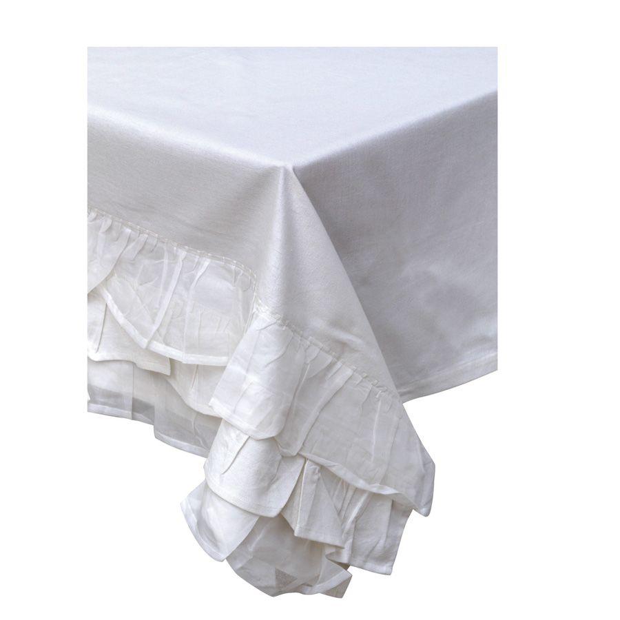 Nappe en coton et lin 250x150 blanc interior 39 s - Nappe en coton blanc ...