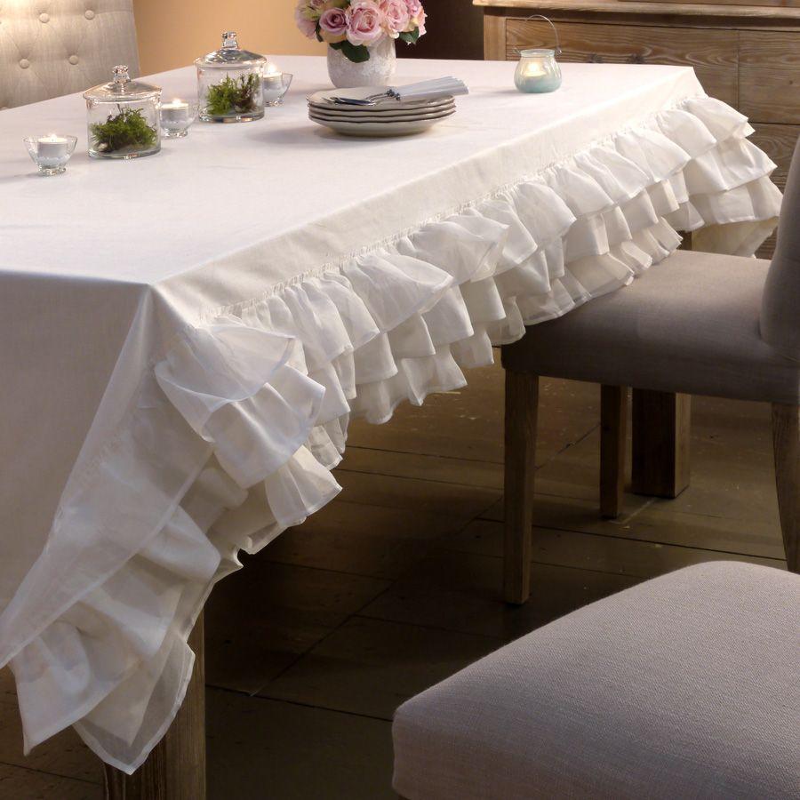 nappe en coton et lin 250x150 blanc interior 39 s. Black Bedroom Furniture Sets. Home Design Ideas