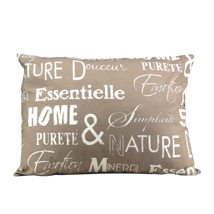 housse de coussin en coton et lin 50x70 beige interior 39 s. Black Bedroom Furniture Sets. Home Design Ideas