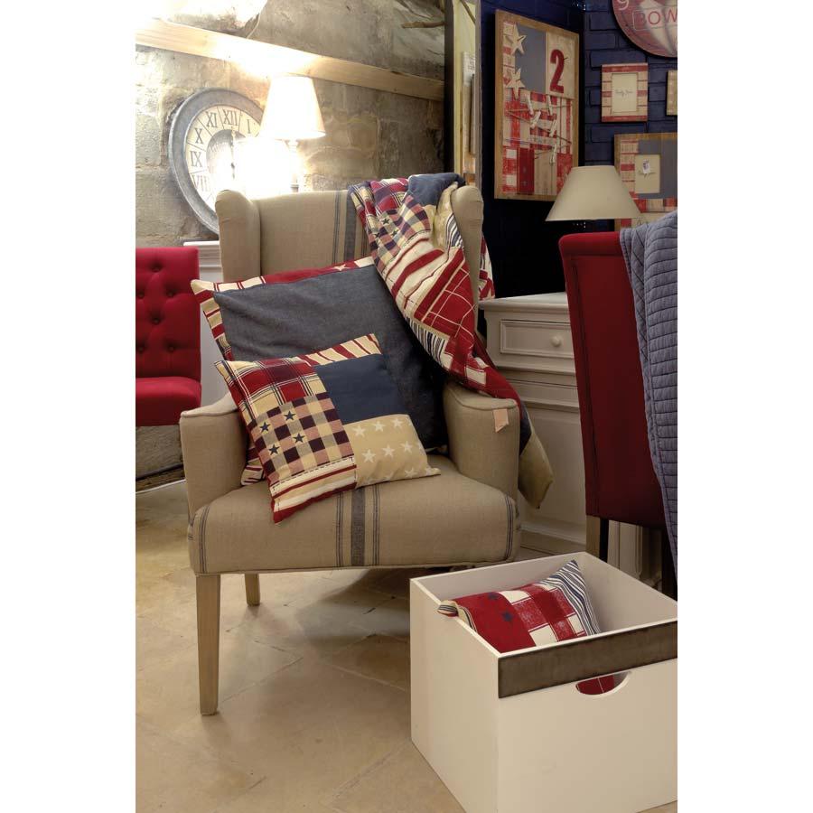 housse de coussin en coton et lin 60x60 rouge interior 39 s. Black Bedroom Furniture Sets. Home Design Ideas