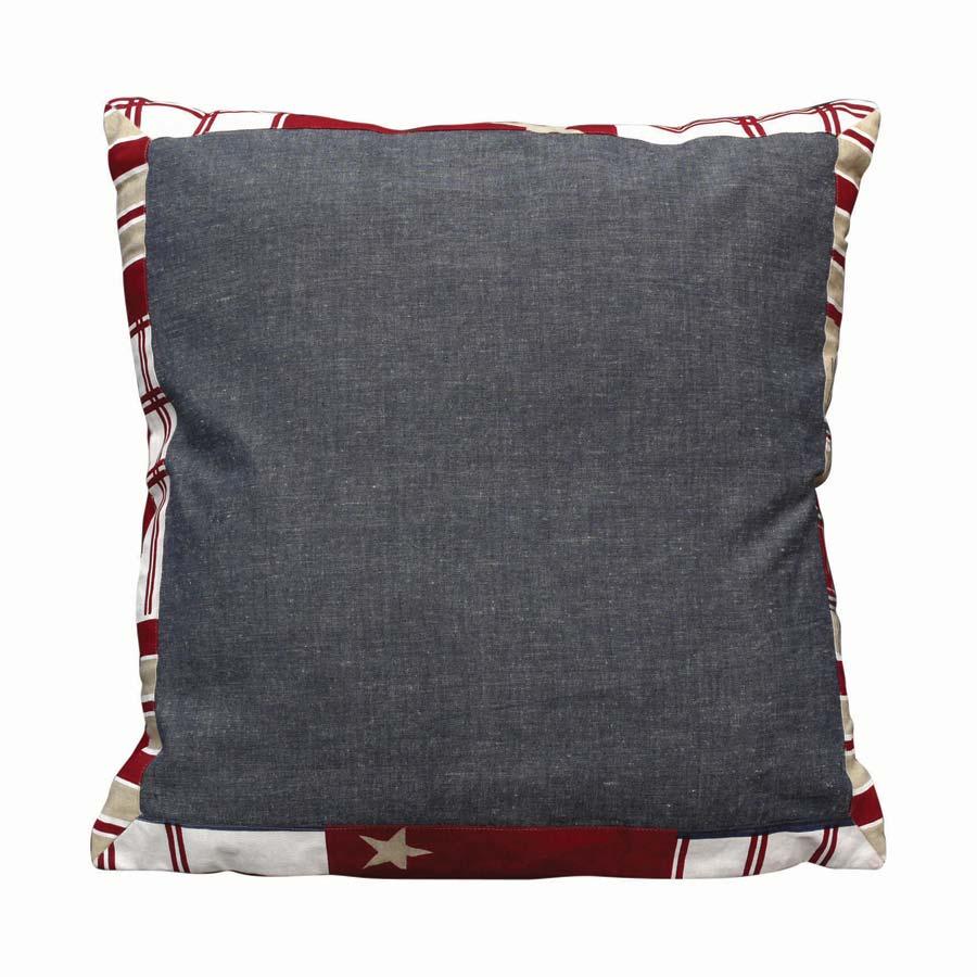 taie d 39 oreiller en coton et lin 60x60 bleu interior 39 s. Black Bedroom Furniture Sets. Home Design Ideas