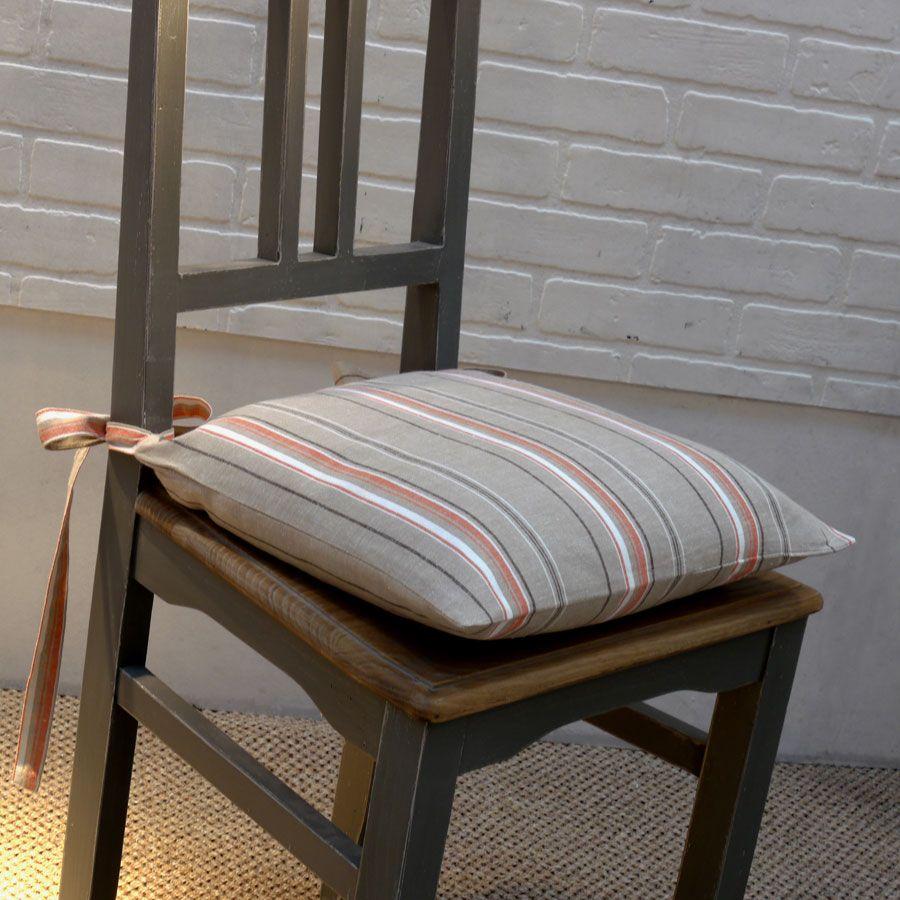 Galette de chaise en coton et lin 40x40 marron interior 39 s - Galette de chaise originale ...