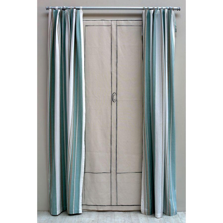 rideau nouettes en coton et lin 110x250 bleu interior 39 s. Black Bedroom Furniture Sets. Home Design Ideas
