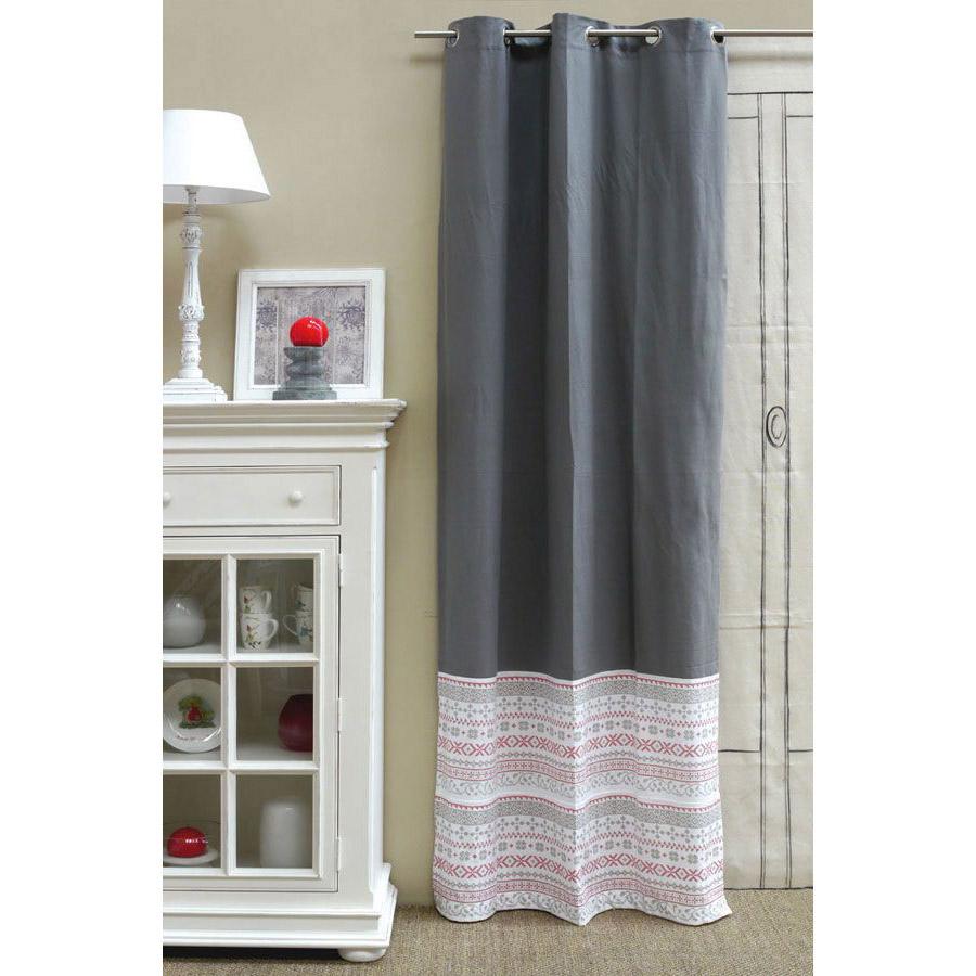rideau en coton 110x250 gris interior 39 s. Black Bedroom Furniture Sets. Home Design Ideas