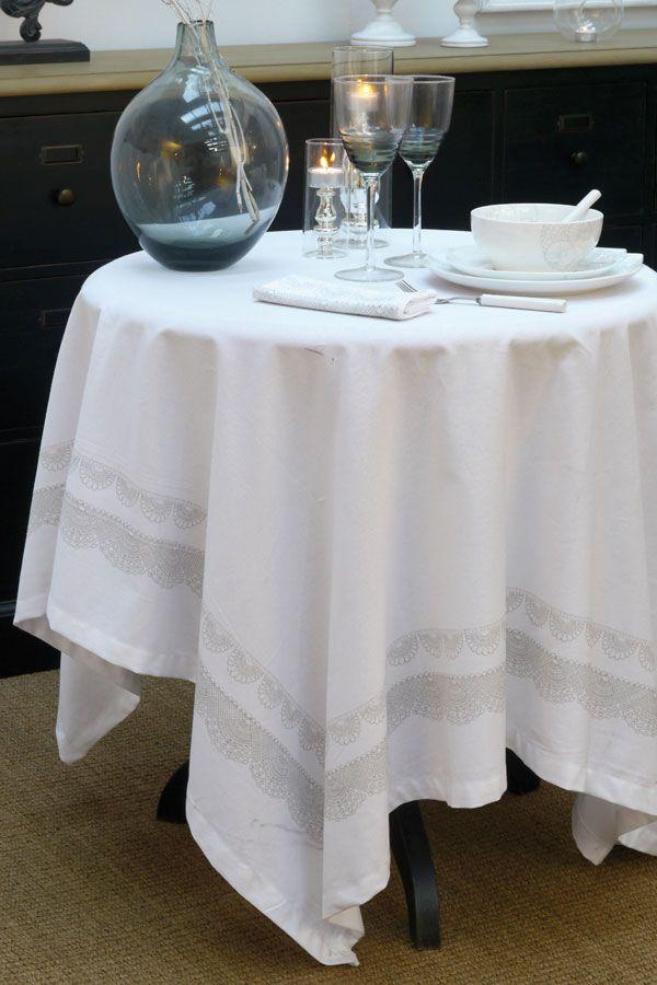 nappe en coton 160x160 blanc interior 39 s. Black Bedroom Furniture Sets. Home Design Ideas