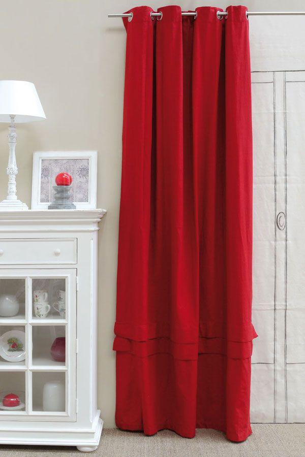 rideau en coton et lin 150x270 rouge interior 39 s. Black Bedroom Furniture Sets. Home Design Ideas