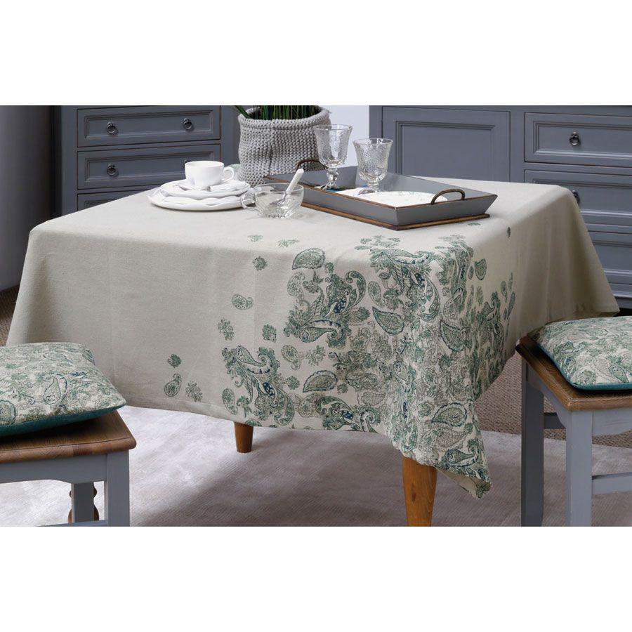 nappe en coton et lin 160x160 vert interior 39 s. Black Bedroom Furniture Sets. Home Design Ideas