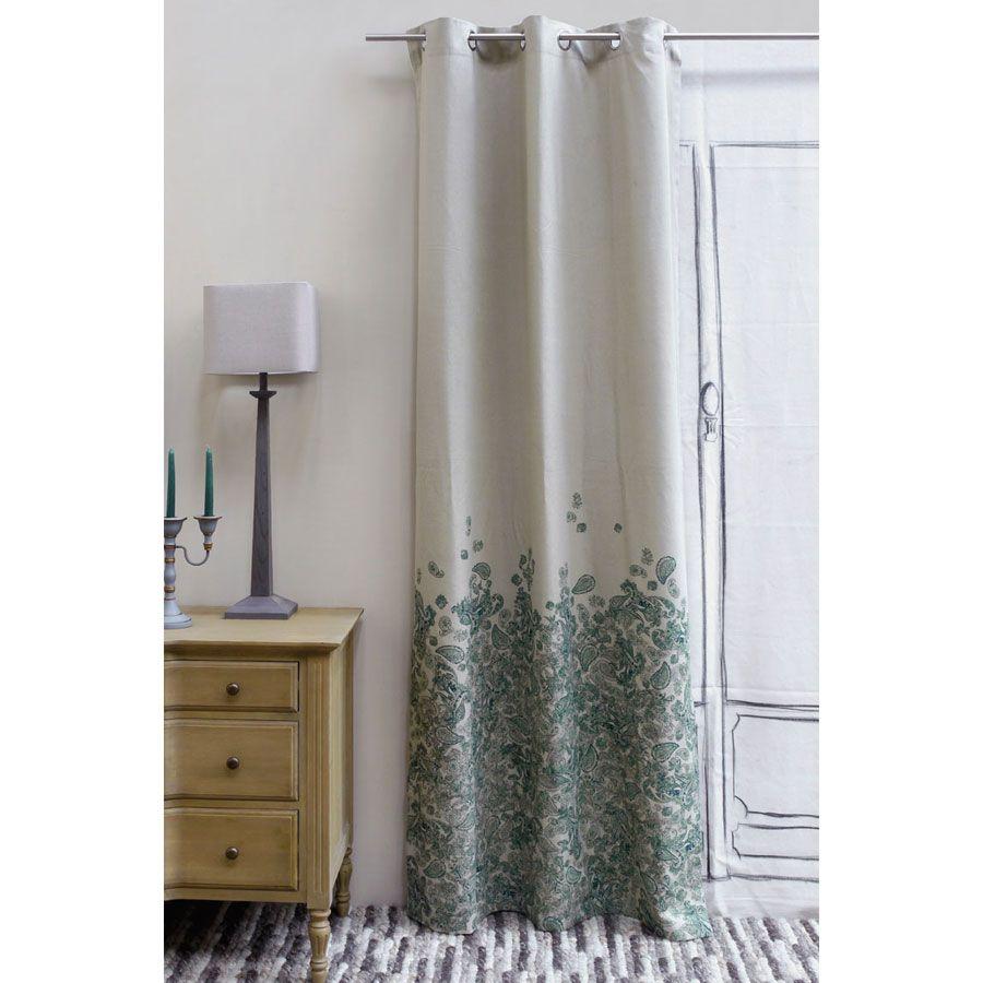 rideau en coton et lin 110x250 vert interior 39 s. Black Bedroom Furniture Sets. Home Design Ideas