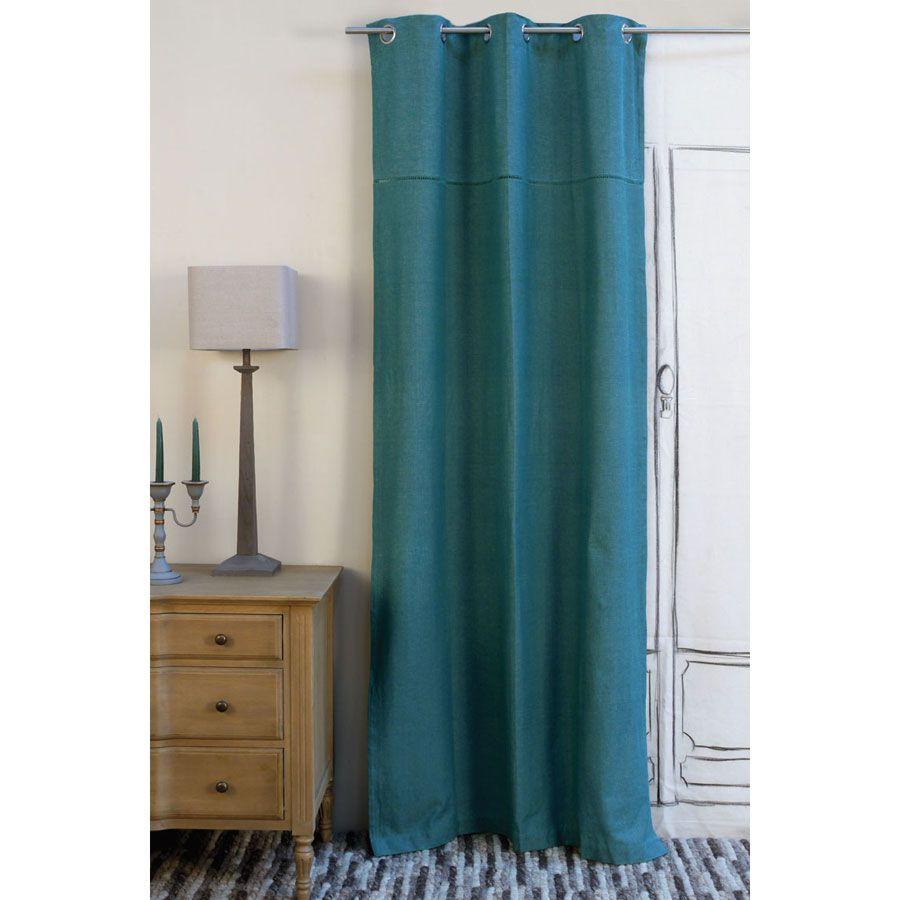 rideau en coton et lin 110x250 bleu interior 39 s. Black Bedroom Furniture Sets. Home Design Ideas