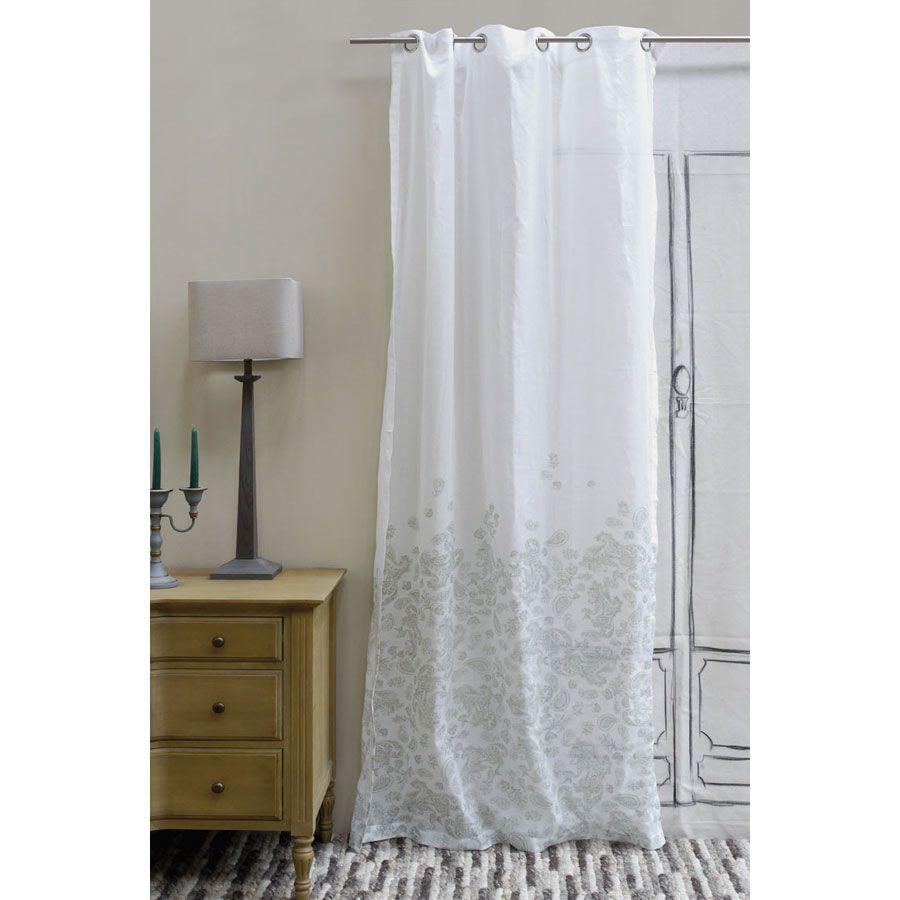Voilages en coton et lin 110x250 lot de 2 blanc interior 39 s for Voilage en lin