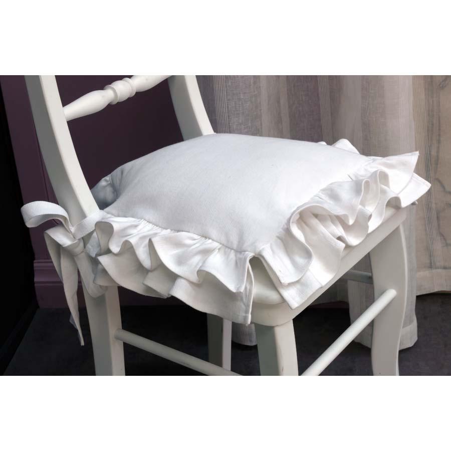 galette de chaise en coton 40x40 blanc interior 39 s. Black Bedroom Furniture Sets. Home Design Ideas