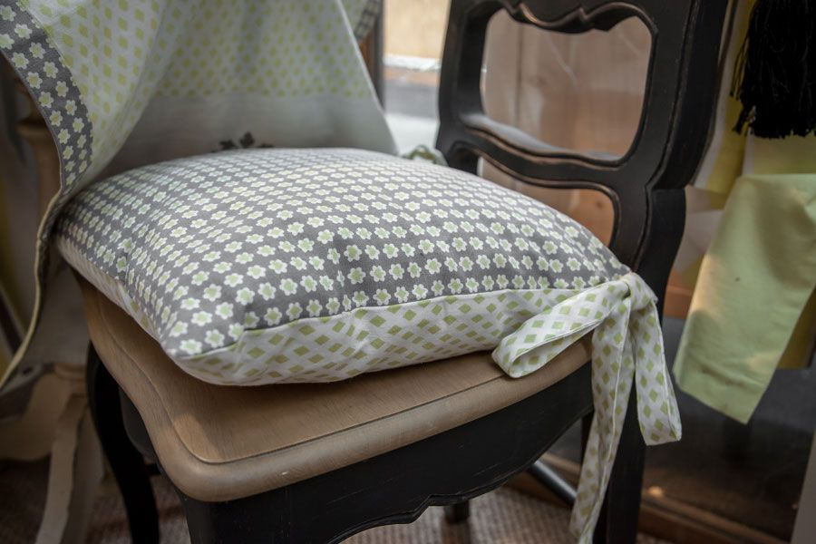 Galette de chaise en coton et lin 40x40 motifs interior 39 s - Galette de chaise originale ...