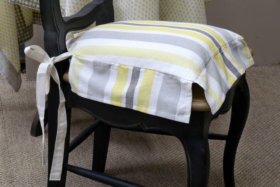 galette de chaise en coton et lin 40x40 motifs interior 39 s. Black Bedroom Furniture Sets. Home Design Ideas