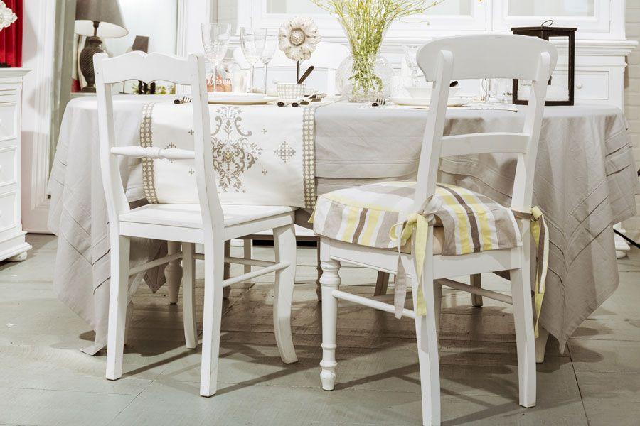 Galette de chaise en coton et lin 40x40 motifs interior 39 s - Dessus de chaise a volant ...
