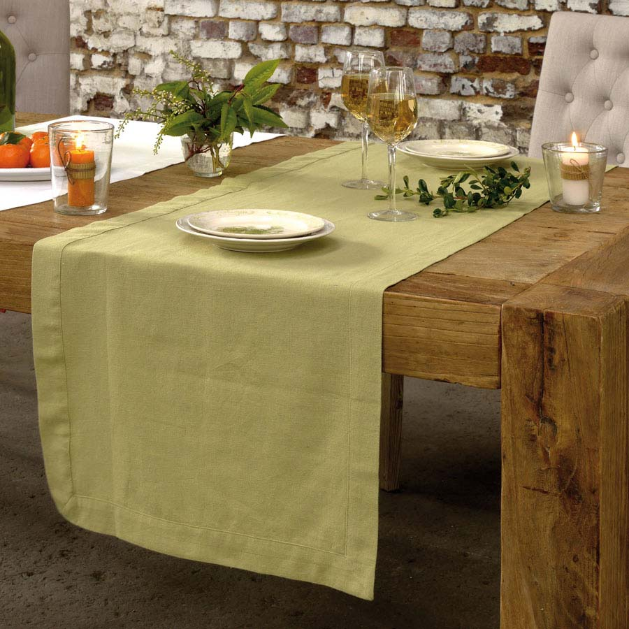 Chemins de table en coton et lin 180x50 (lot de 2)