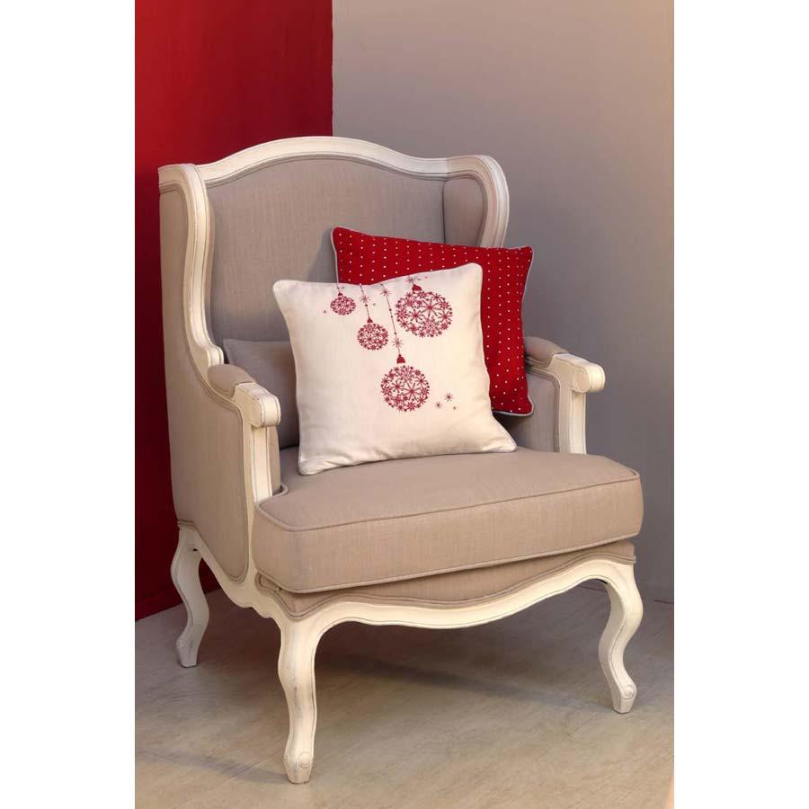 housse de coussin en coton et lin 40x40 blanc interior 39 s. Black Bedroom Furniture Sets. Home Design Ideas