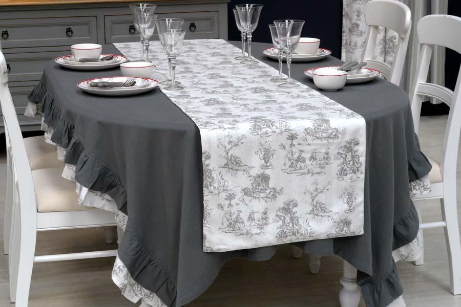 nappe en coton et lin 260x160 gris interior 39 s. Black Bedroom Furniture Sets. Home Design Ideas