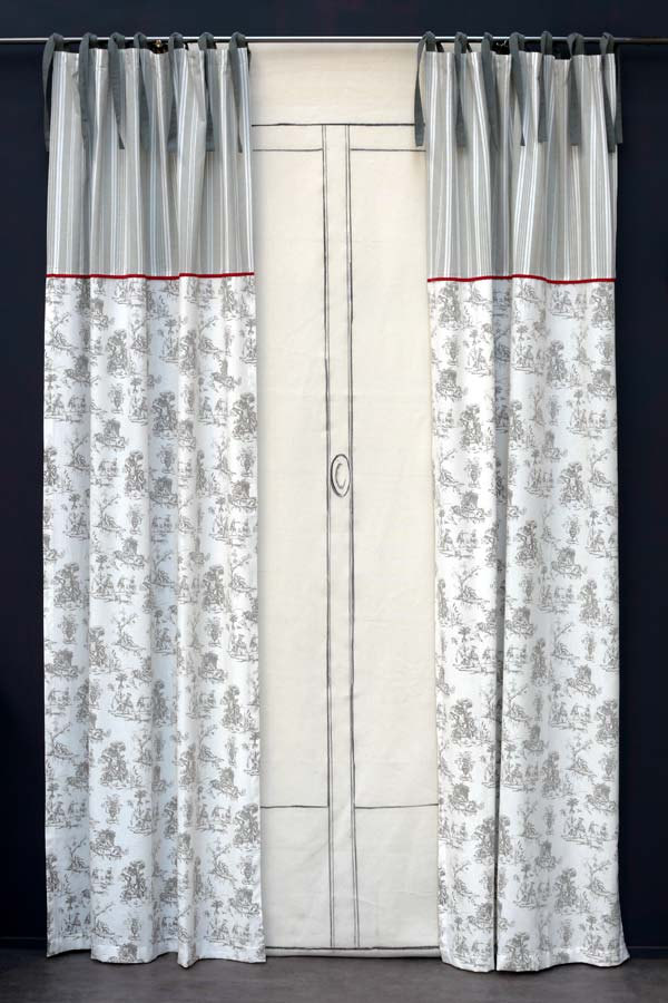 Rideau en coton et lin 110x250 gris interior 39 s for Soldes rideaux lin