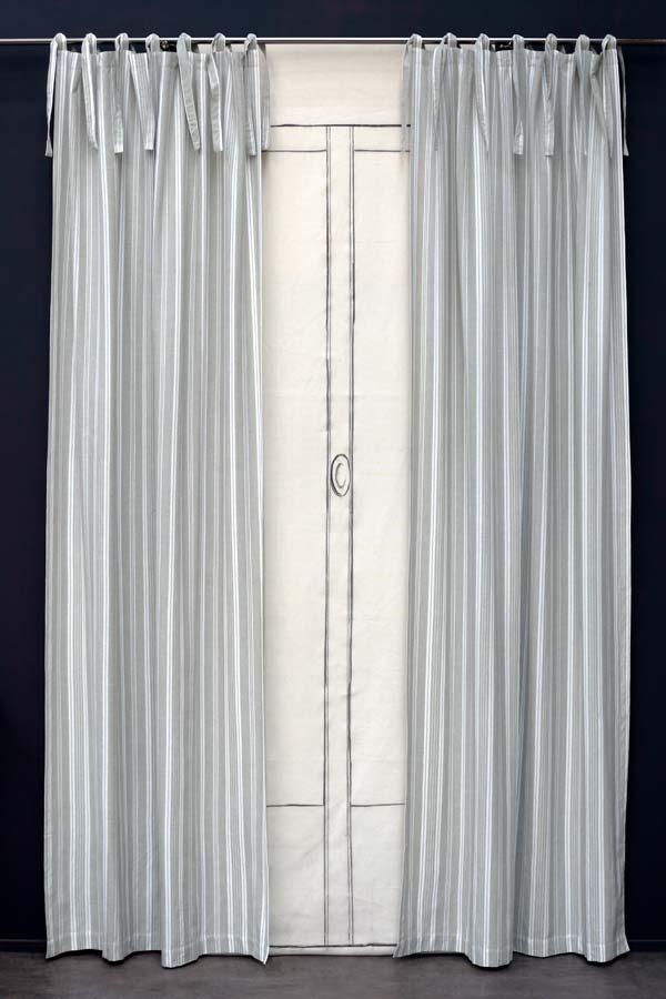 rideau en coton et lin 110x250 gris interior 39 s. Black Bedroom Furniture Sets. Home Design Ideas