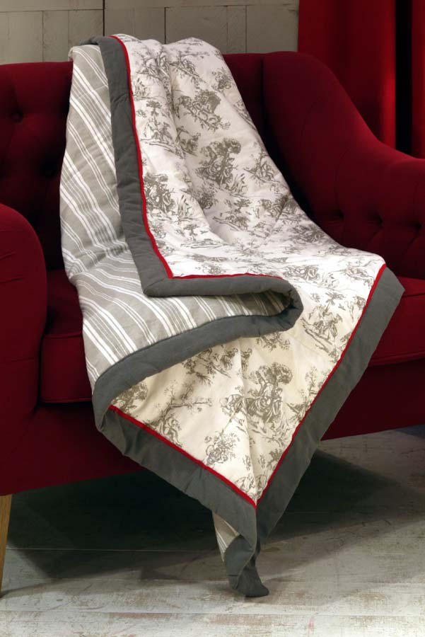 boutis en coton et lin 130x180 gris interior 39 s. Black Bedroom Furniture Sets. Home Design Ideas