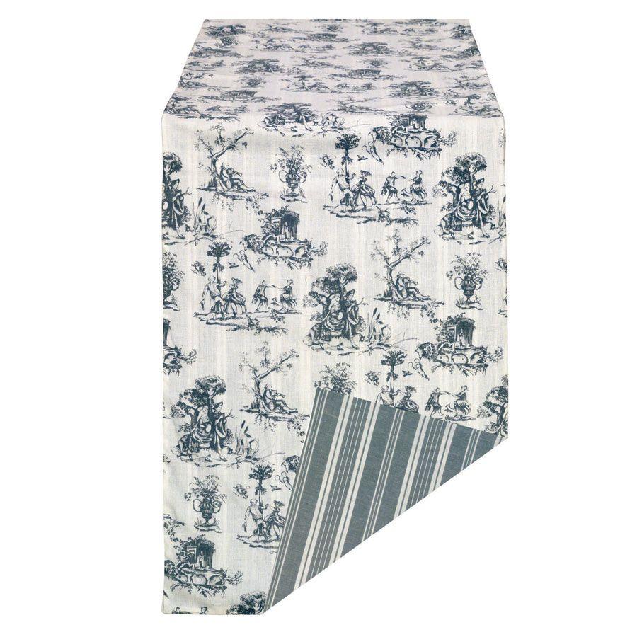Chemin de table en coton et lin 260x50 gris interior 39 s for Chemin de table boutis