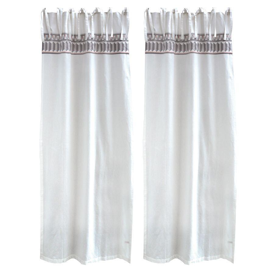 rideaux en coton et lin 110x250 lot de 2 blanc. Black Bedroom Furniture Sets. Home Design Ideas