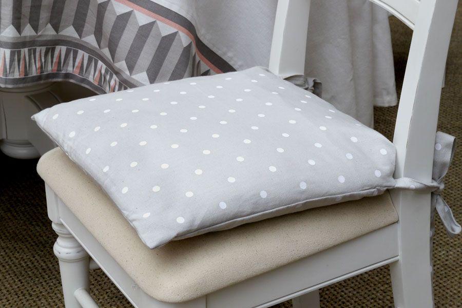 galette de chaise en coton et lin 40x40 gris interior 39 s. Black Bedroom Furniture Sets. Home Design Ideas