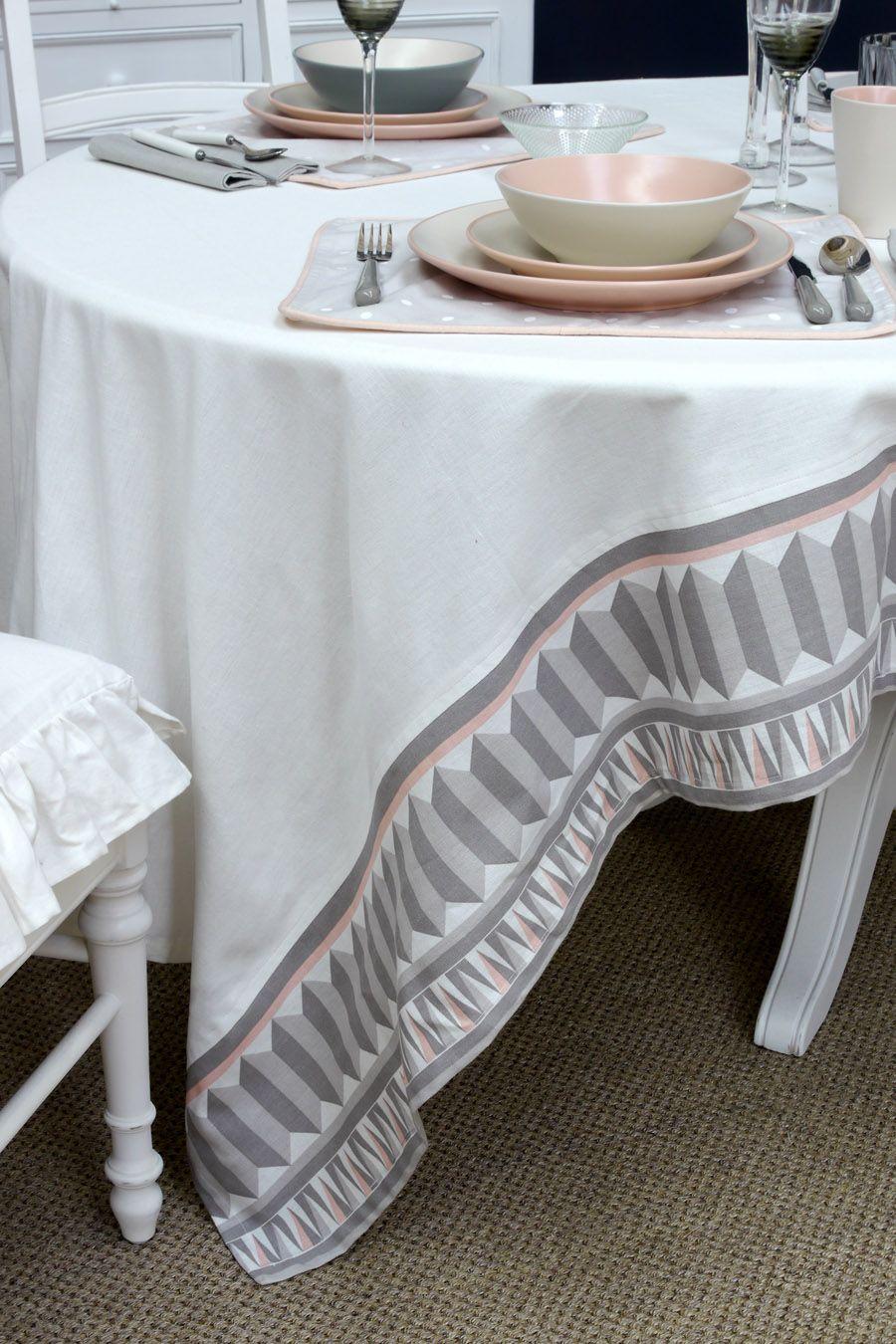 nappe en coton et lin 260x160 blanc interior 39 s. Black Bedroom Furniture Sets. Home Design Ideas