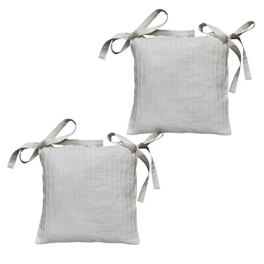 Galettes de chaises en coton et lin 40x40 lot de 2 for Chaise 5013